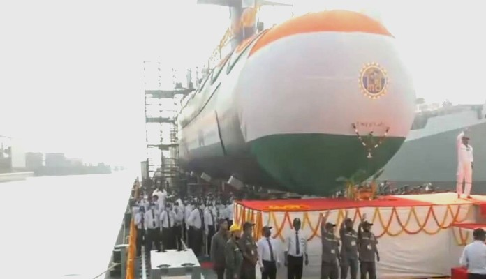 Indian navy launched the fifth scorpene class submarine Vagir
